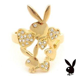 Playboy Ring Bunny Swarovski Crystal Heart Gold
